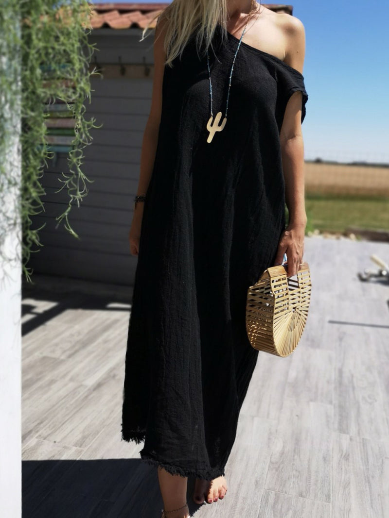 Crew Neck Women Bow Shift Daily Boho Plain Dress
