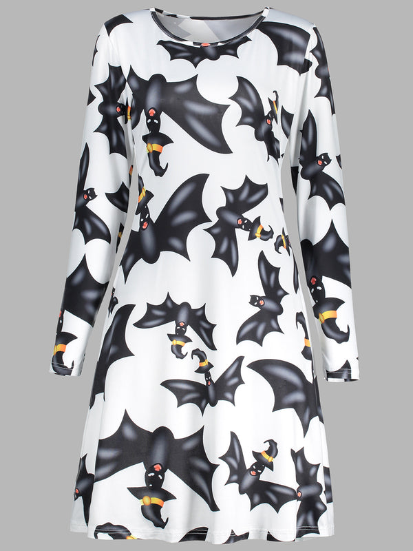 Crew Neck White Women Casual A-Line Date Animal Dress