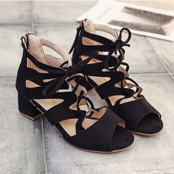 Hollow out Zipper Casual Artificial Suede Chunky Heel Sandals