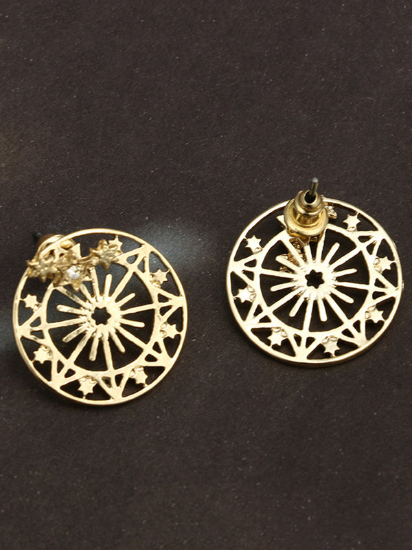 Gold Metal Round Earring