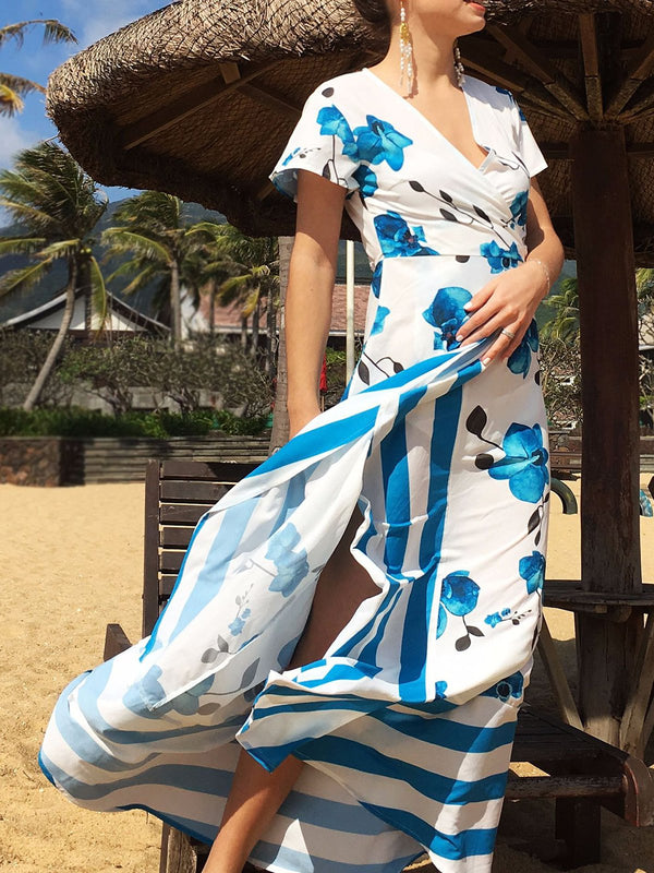 A-line Boho Floral Paneled Vacation Slit Maxi Dress