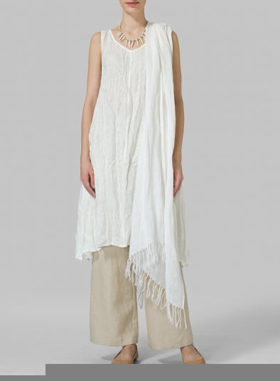 Vintage Sleeveless V-Neck Linen Plain Dress