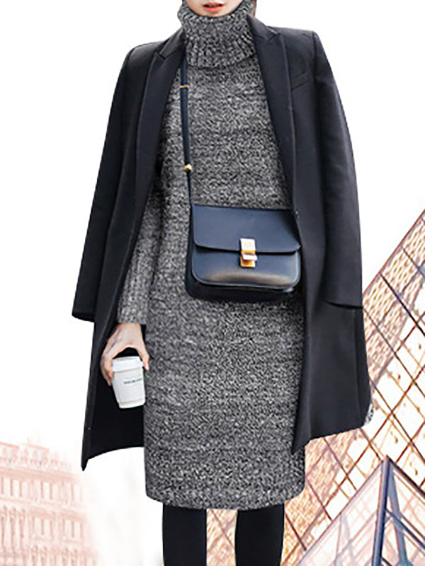 Gray Statement Knitted Casual Dress
