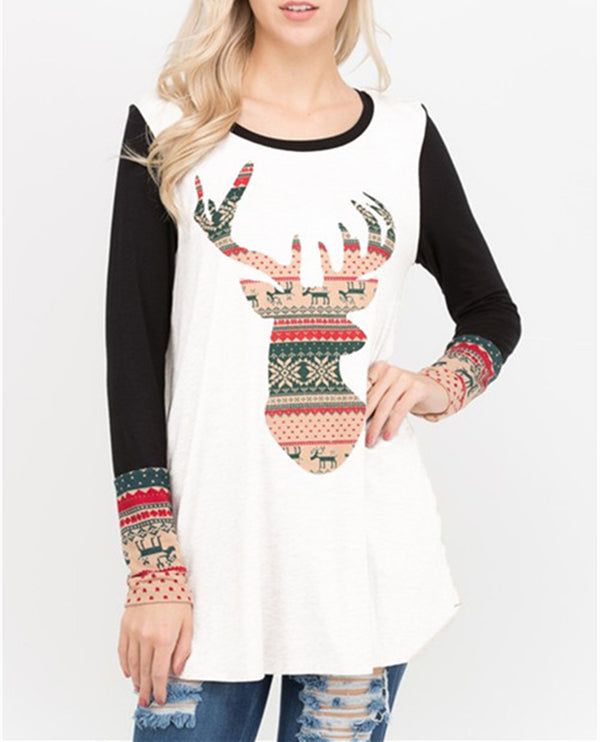 Christmas Dear Tribal Printed Blouse