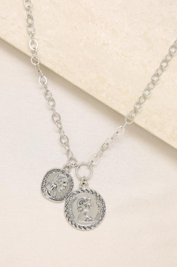 The Adventurer Double Rhodium Coin Necklace