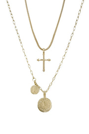 Keep the Faith 18k Gold Plated Cross and Coin Necklace Set