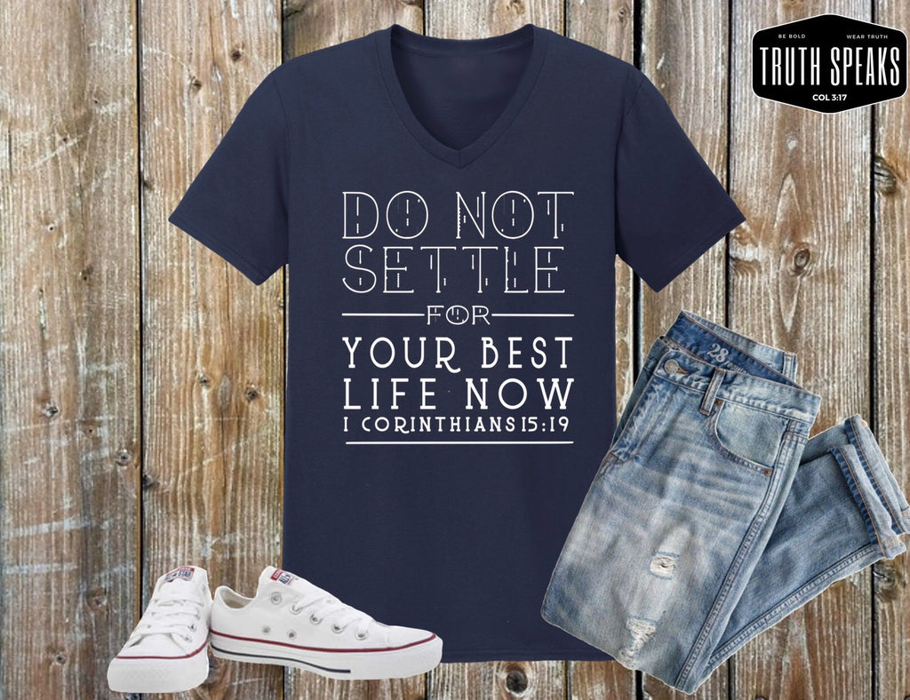 Navy Blue Do Not Settle V-Neck