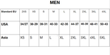 Men sizing chart - Asian to US sizes