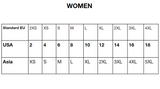 Women sizing chart - Asian to US sizes.