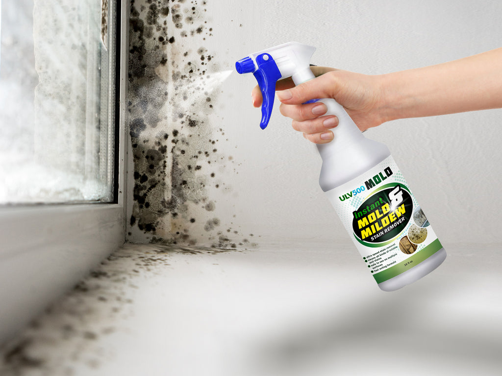 Getting rid of mold stains from window surface using ULV500 Mold Remover.