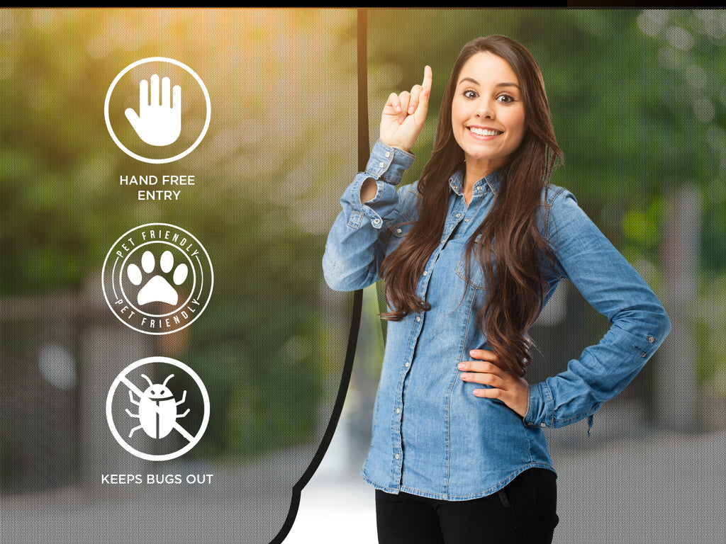 A woman showing the features and benefits of a magnetic screen door.