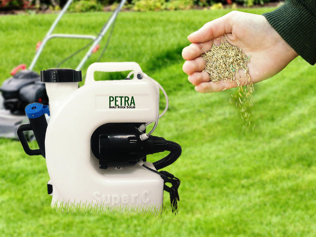 Overseed your lawn to lush with Petra Electric Fogger Backpack Sprayer.