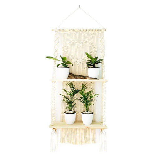 Petratools macramé plant hanger is hand made with 100% cotton rope and durable pine wooden shelf