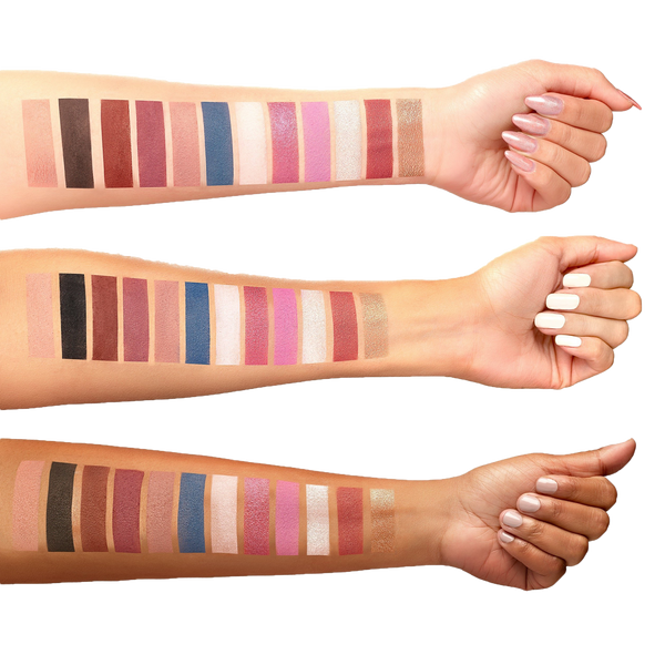Arm Swatches on three different skin tones of the Berries and Cream Eyeshadow Palette