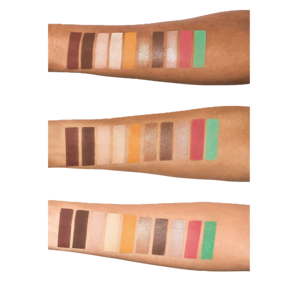 Latte 2 Palette arm swatches on three different skin tones