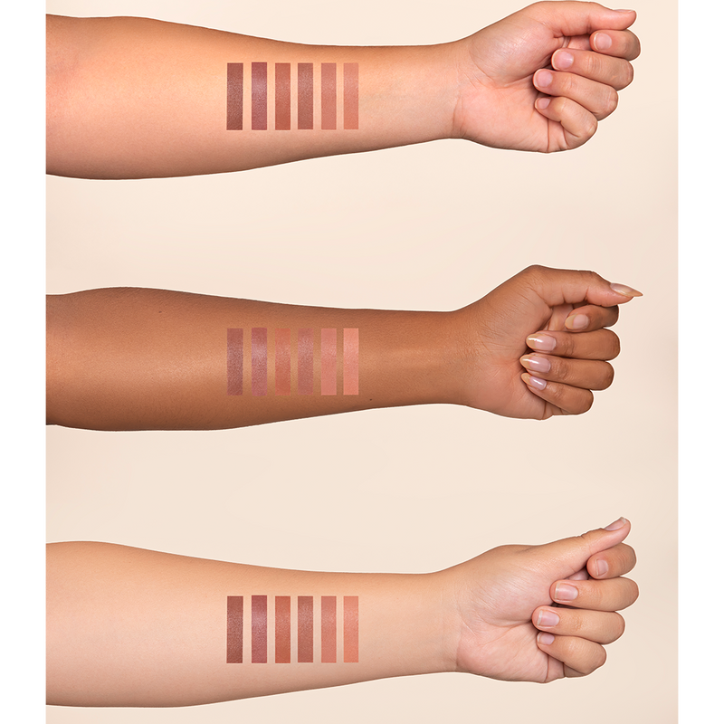 Dominique Cosmetic's Soft Focus Demi Matte Lipstick swatches on three different skin tones
