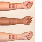 Arm Swatches on three different skin tones of Lipsticks