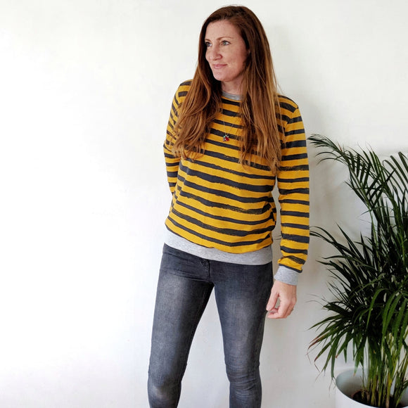 Women's Mustard Stripe Sweater