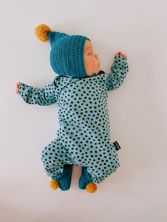 Teal spotty onesie, READY TO SHIP