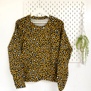 Women's Mustard cheetah Lightweight Sweater