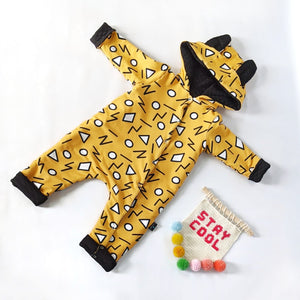 Mustard squiggles Reversible Outdoor Onesie Pramsuit