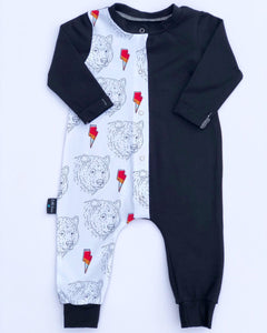 Black colour block with Bears & Bolts babygrow