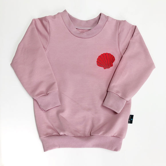 "Women's Blush Pink ""Happy as a clam"" shell Sweater"