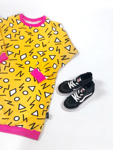 Mustard Squiggles Jumper Dress