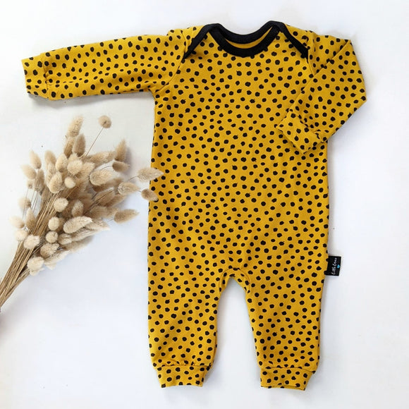 Mustard spotty onesie, READY TO SHIP