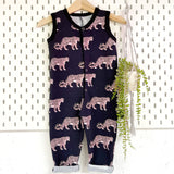 Black / lilac leopard unisex sleeveless onesie, READY TO SHIP
