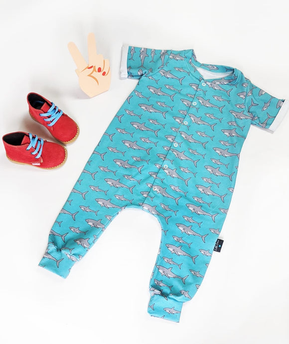 Shark short sleeves onesie