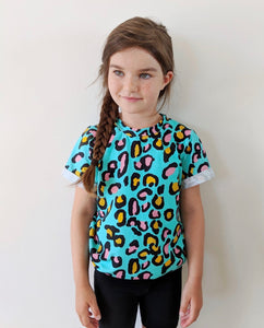 Turquoise leopard print T Shirt