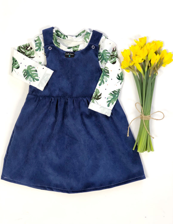 Navy Cord pinafore dress