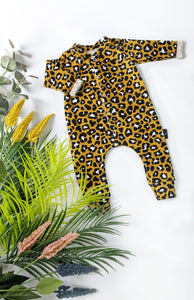 Mustard Leopard Babygrow, READY TO SHIP