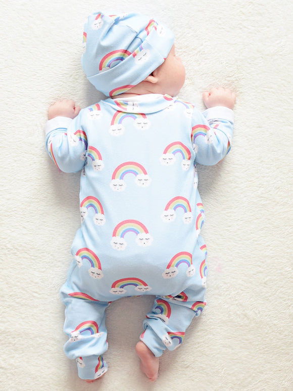 Unisex Blue Rainbow Babygrow, READY TO SHIP