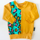 Mustard & Turquoise Leopard print panelled lightweight Sweater