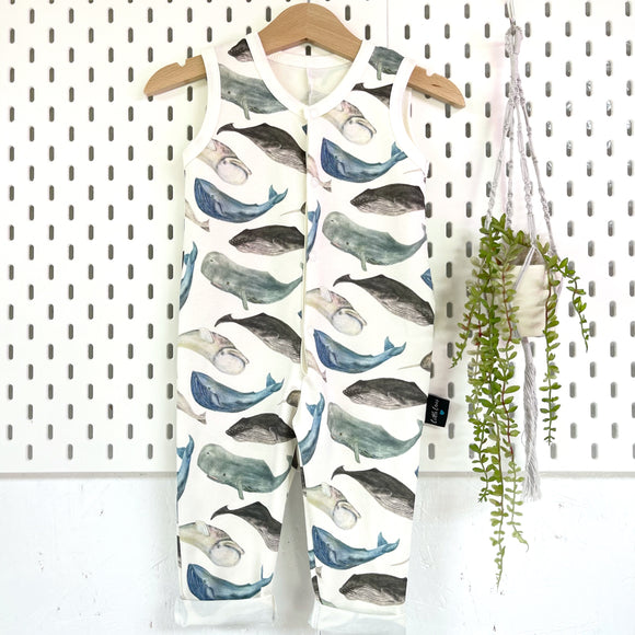 Whale sleeveless onesie, READY TO SHIP