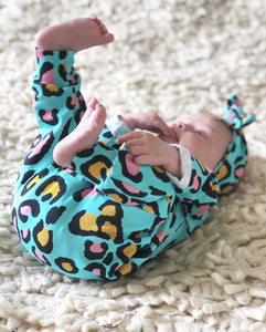 Turquoise Leopard Babygrow READY TO SHIP