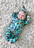 Turquoise Leopard Babygrow READY TO SHIP (-30% off larger sizes)