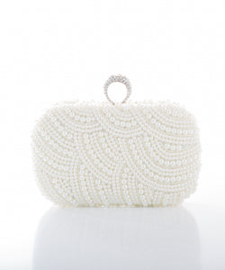 Dimple Ramaiya Sva Pearl Clutch in White