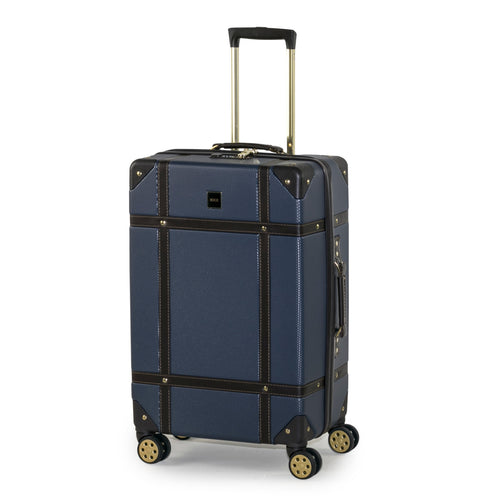 Rock Vintage Medium 4 Wheeled Suitcase (67cm) in Navy