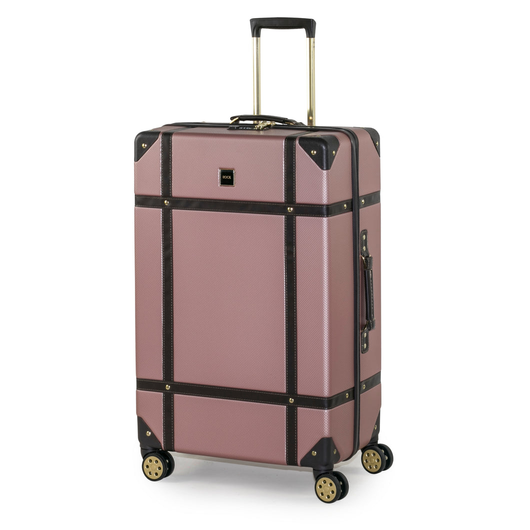 Rock Vintage Large 4 Wheeled Suitcase (78cm) in Pink