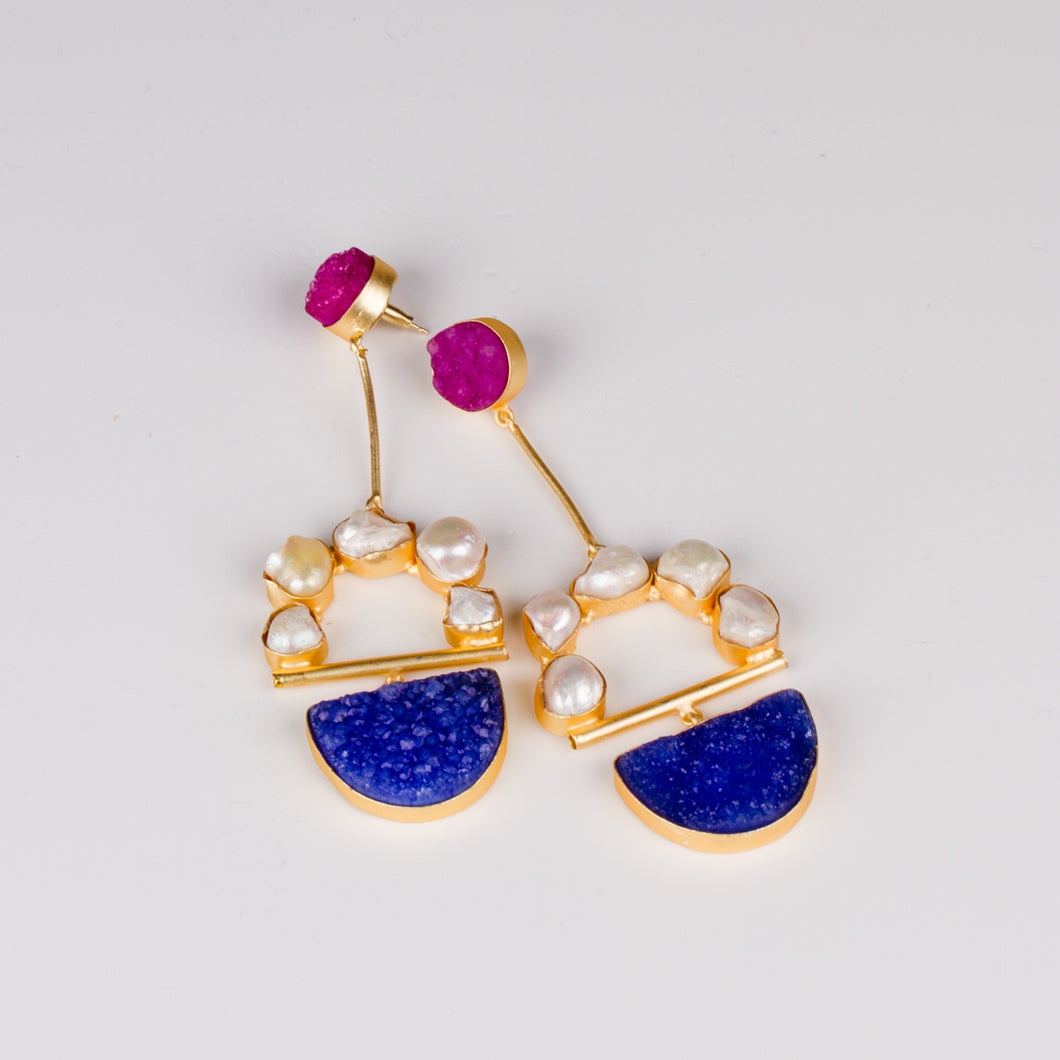 Dimple Ramaiya Sona Earrings || Semi Precious Collection