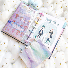 Load image into Gallery viewer, JD52 - Mini Happy Planner - Clear Glitter & Holo Combo Jelly dashboards with heart window