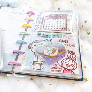 JD52 - Mini Happy Planner - Clear Glitter & Holo Combo Jelly dashboards with heart window