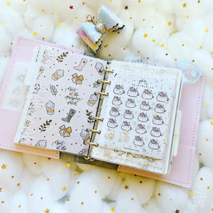 JD46 - A6 Rings - Clear Star Glitter Dashboards w/out back pocket