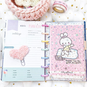 JD48 - Mini Happy Planner - Clear Star Jelly dashboards w/out back pocket