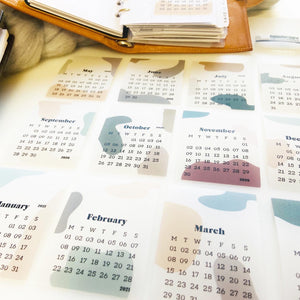 Transparent Vellum Calendar Cards - whole year