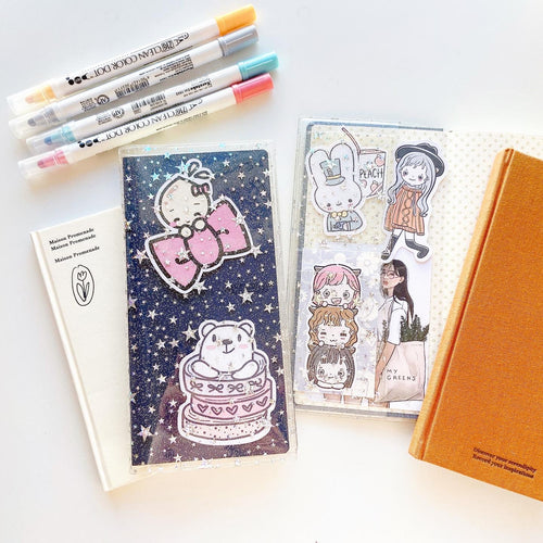 JD107 - Hobonichi Weeks Regular - Star Glitter Cover with pockets