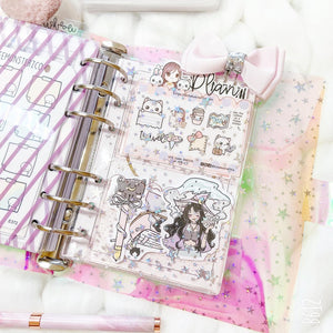 JD59 - A6 Rings - Blush Pink Star Glitter Dashboards w/ two scalloped pockets